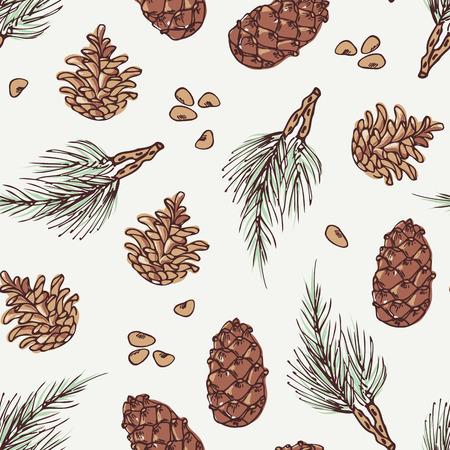 Main couronne dessinée et cône de pin hiver seamless pattern. fond Doodle. Vector illustration