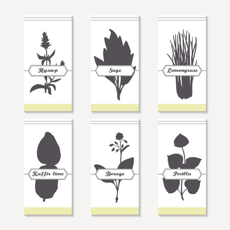 lemongrass: Spicy herbs silhouettes collection. Hand drawn hyssop, sage, lemongrass, kaffir lime, borage, perilla. Retro labels set for food packaging or kitchen design. Vector illustration