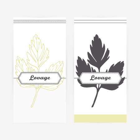 lovage: Lovage seasoning. Hand drawn branch with leaves in outline and silhouette style. Spicy herbs retro labels collection for food packaging or kitchen design. Vector illustration