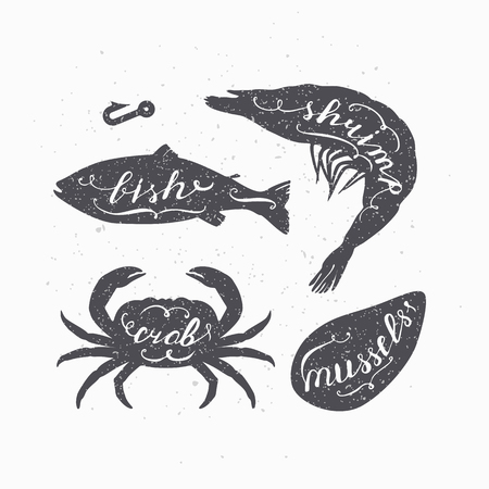 Set of marine animals silhouettes  with handwritten signs. Fish, crab, shrimp and mussels. Seafood shop design template with hand lettering for craft packaging or food restaurant. Vector illustration