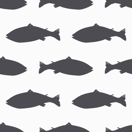 Salmon fish silhouette seamless pattern. Seafood meat. Background for craft food packaging or shop design. Vector illustration