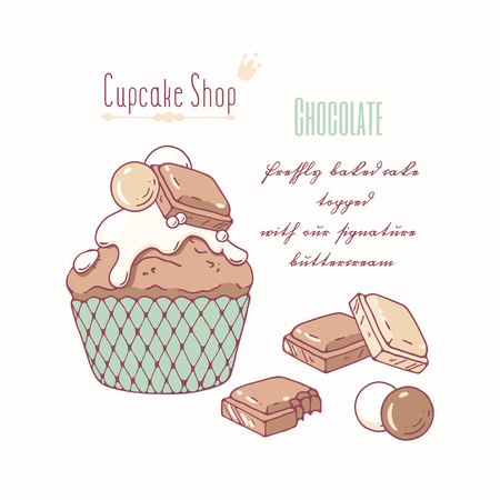 cupcakes isolated: Hand drawn cupcake with doodle buttercream for pastry shop menu. Milk and white chocolate flavor. Vector illustration