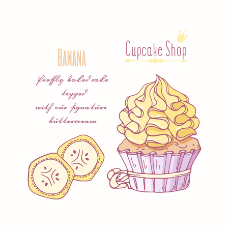 Hand drawn cupcake with doodle buttercream for pastry shop menu. Banana flavor. Vector illustration Illustration