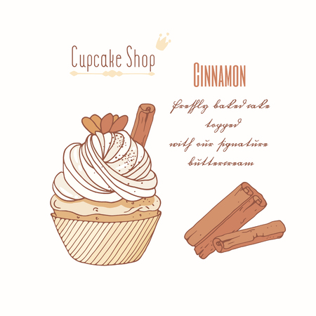 Hand drawn cupcake with doodle buttercream for pastry shop menu. Cinnamon flavor. Vector illustration