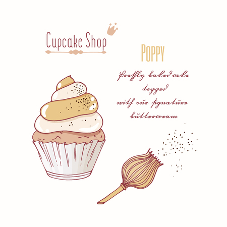 baked goods: Hand drawn cupcake with doodle buttercream for pastry shop menu. Poppy flavor. Vector illustration Illustration