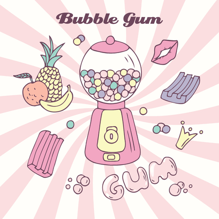 Hand drawn bubble gum machine with gumballs, bubblegum and handwritten sign. Candy color background. Multifruit flavor. Vector illustration Illustration