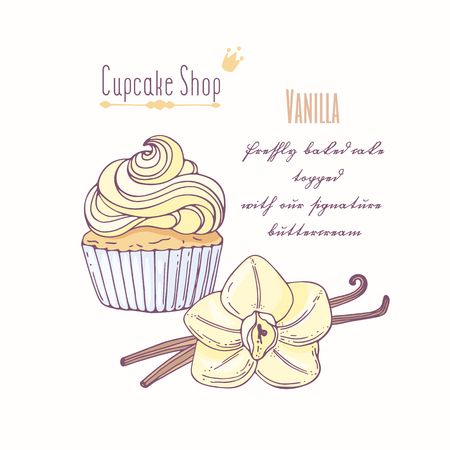 Hand drawn cupcake with doodle buttercream for pastry shop menu. Vanilla flavor. Vector illustration Illustration