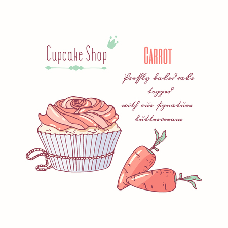 Hand drawn cupcake with doodle buttercream for pastry shop menu. Carrot flavor. Vector illustration
