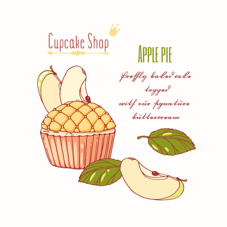 Hand drawn apple pie cupcake with doodle buttercream for pastry shop menu. Fruit flavor. Vector illustration Illustration