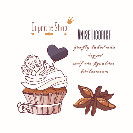 Hand drawn cupcake with stars of anise, licorice candy and doodle buttercream for pastry shop menu. Vector illustration