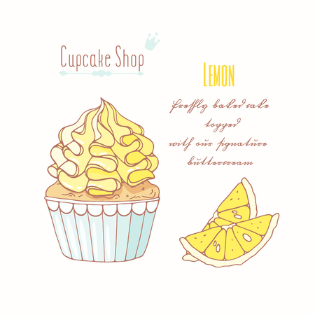 Hand drawn cupcake with doodle buttercream for pastry shop menu. Lemon flavor. Vector illustration