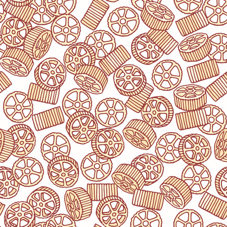 Hand drawn pasta rotelle or ruote seamless pattern. Background for restaurant or food package design. Vector illustration