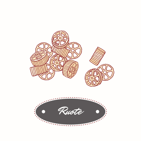 Hand drawn pasta rotelle or ruote isolated on white. Element for restaurant and food package design. Vector illustration 向量圖像