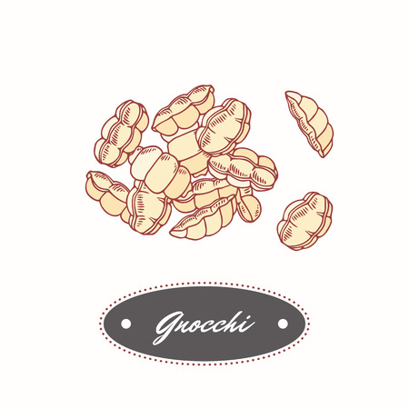 Hand drawn pasta gnocchi isolated on white. Element for restaurant or food package design. Vector illustration