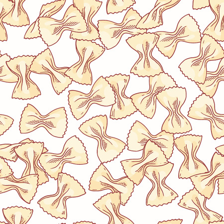 Hand drawn pasta farfalle seamless pattern. Background for restaurant or food package design. Vector illustration