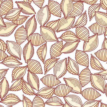 Hand drawn pasta conchiglie seamless pattern. Background for restaurant or food package design. Vector illustration