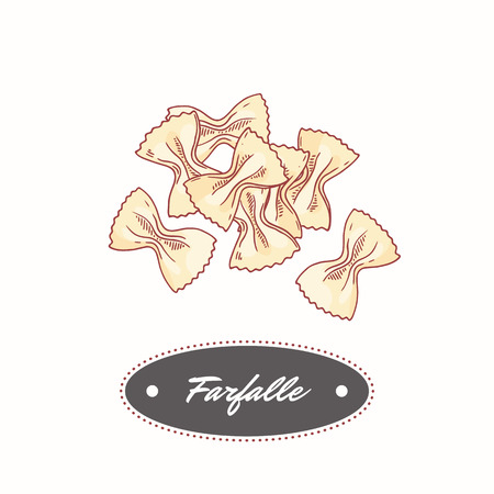 Hand drawn pasta farfalle isolated on white. Element for restaurant or food package design. Vector illustration 向量圖像