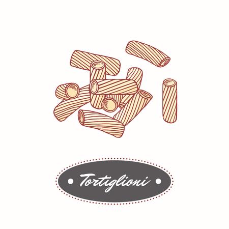 tortellini: Hand drawn pasta tortiglioni - tortellini isolated on white. Element for restaurant or food package design. Vector illustration