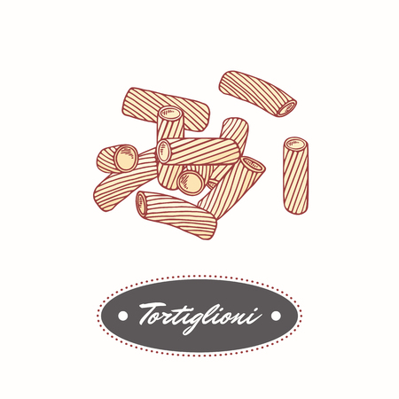 Hand drawn pasta tortiglioni - tortellini isolated on white. Element for restaurant or food package design. Vector illustration