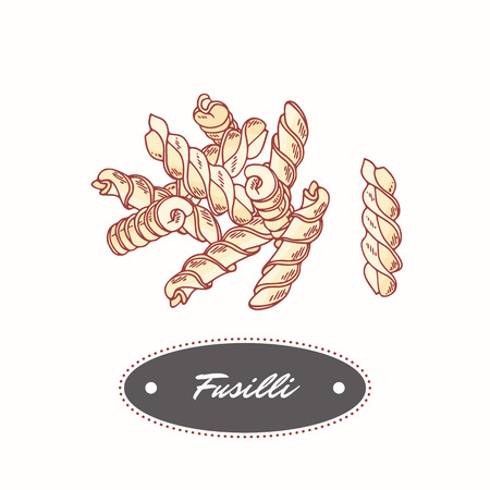 Hand drawn pasta Fusilli isolated on white. Element for restaurant or food package design. Vector illustration
