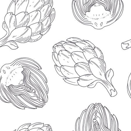 Hand getrokken naadloze patroon met artisjok. Zwart-wit achtergrond in schetsstijl. Vector illustratie