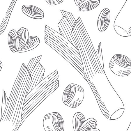 부추와 손으로 그린 원활한 패턴입니다. 스케치 스타일에서 단색 배경입니다. 벡터 일러스트 레이 션 일러스트