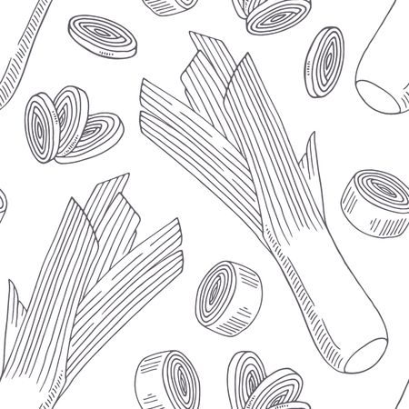 Hand drawn seamless pattern with leek. Monochrome background in sketch style. Vector illustration