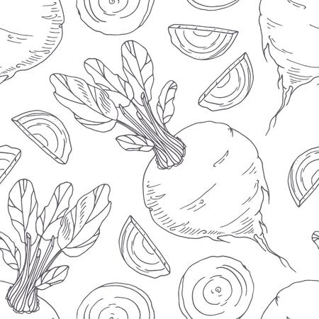 Hand getrokken naadloze patroon met rode biet. Zwart-wit achtergrond in schetsstijl. Vector illustratie