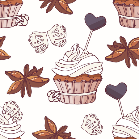 baked goods: Hand drawn seamless pattern with doodle cupcake, stars of anise, licorice candy and buttercream. Food background. Vector illustration