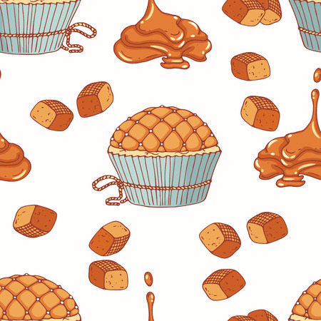 bourbon: Hand drawn seamless pattern with doodle cupcake and caramel buttercream. Food background. Vector illustration