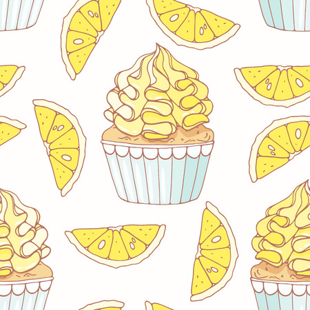 Hand drawn seamless pattern with doodle cupcake and lemon buttercream. Food background. Vector illustration