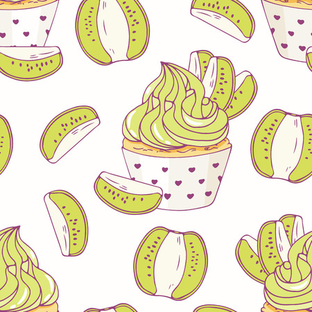 baked goods: Hand drawn seamless pattern with doodle cupcake and kiwi buttercream. Food background. Vector illustration