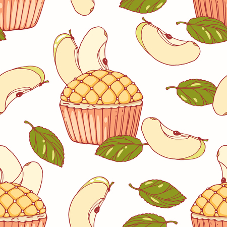 baked goods: Hand drawn seamless pattern with doodle apple pie cupcake and buttercream. Food background. Vector illustration
