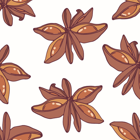 anise: Hand drawn seamless pattern with star anise. Background for cafe, kitchen or food package. Vector illustration