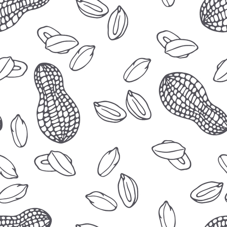 Hand drawn outline seamless pattern with peanuts. Black and white food background. Vector illustration Illustration