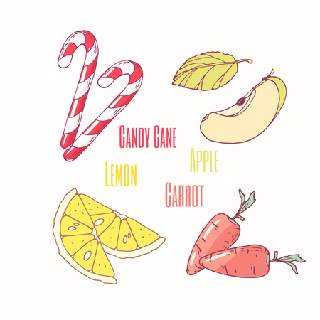 Set of sweet toppings candy cane, apple, lemon and carrot. Hand drawn food. Vector illustration