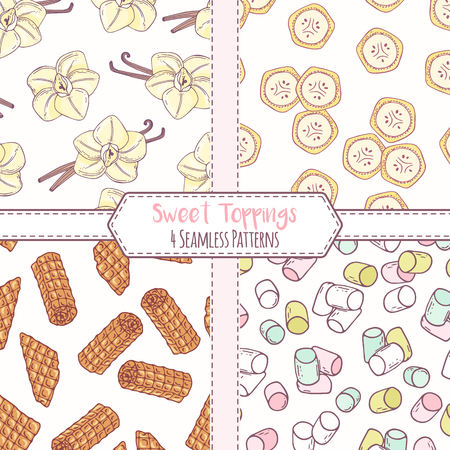 Set of hand drawn seamless patterns with vanilla, banana, waffles and marshmallow. Sweet toppings backgrounds. Vector illustration