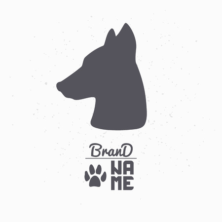 dog: Hand drawn silhouette of dog head. Pet food logo template for craft packaging or brand identity. Vector illustration