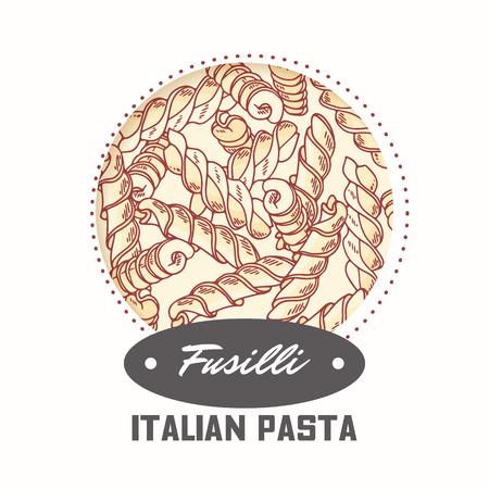 Sticker with hand drawn pasta fusilli isolated on white. Template for food package design. Vector illustration