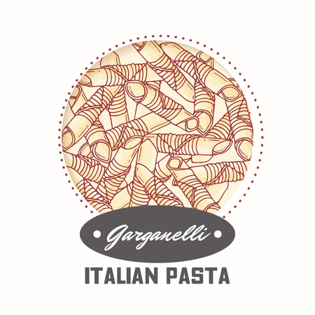 Sticker with hand drawn pasta garganelli isolated on white. Template for food package design. Vector illustration