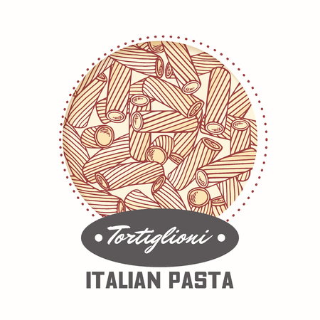 Sticker with hand drawn pasta tortiglioni, tortellini isolated on white. Template for food package design. Vector illustration