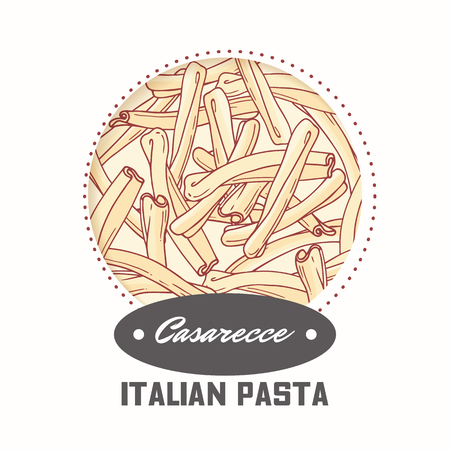 Sticker with hand drawn pasta casarecce isolated on white. Template for food package design. Vector illustration