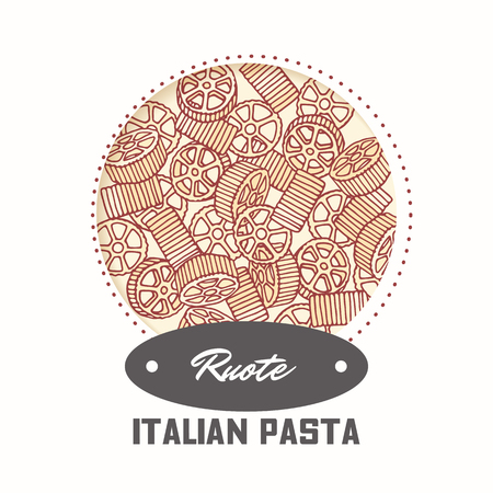 Sticker with hand drawn pasta rotelle or ruote isolated on white. Template for food package design. Vector illustration 向量圖像