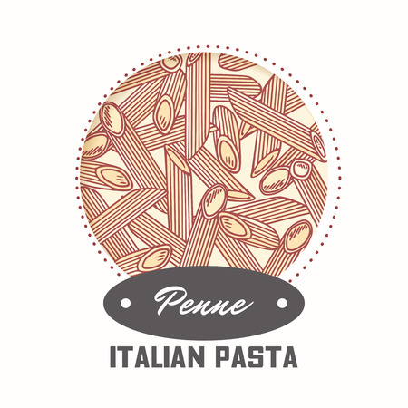 Sticker with hand drawn pasta penne isolated on white. Template for food package design. Vector illustration 向量圖像