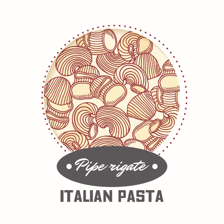 Sticker with hand drawn pasta pipe rigate isolated on white. Template for food package design. Vector illustration 向量圖像