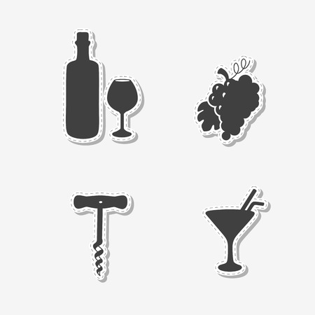 Set of hand drawn stickers with wine bottle and glass, grape bunch, cocktail and corkscrew. Templates for design or brand identity. Vector illustration