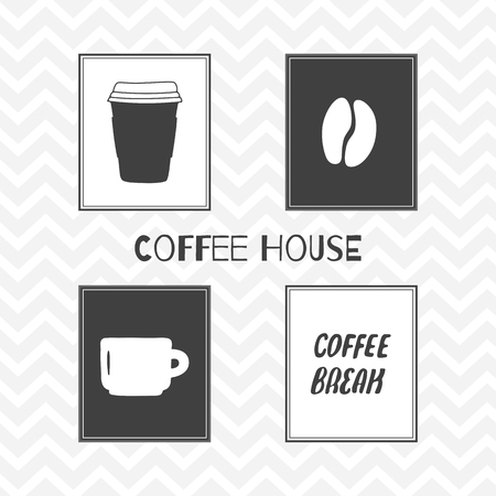 take away: Set of hand drawn silhouettes - coffee bean, mug, paper cup and sign. Coffee shop posters. Vector illustration