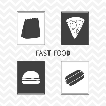 take away: Set of hand drawn silhouettes - takeaway paper bag, hot dog, burger and pizza slice. Fast food posters. Vector illustration