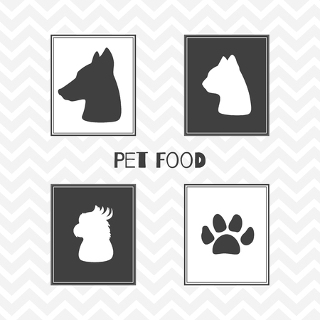 dog: Set of hand drawn silhouettes heads of dog, cat, parrot and paw print. Pet food shop posters. Vector illustration Illustration