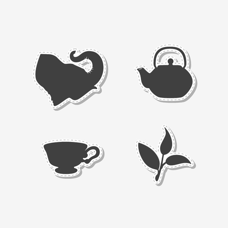 ceylon: Set of hand drawn stickers with elephant, teapot, tea leaf and cup. Templates for design or brand identity. Vector illustration